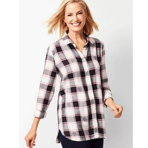 Talbots Plaid Button Front Shirt Snowflake NEW